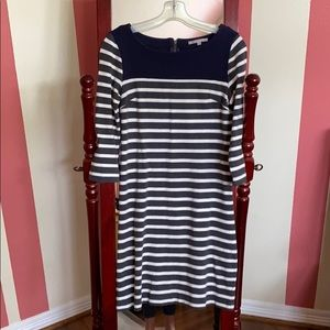 Navy and gray and white stripe sweater dress